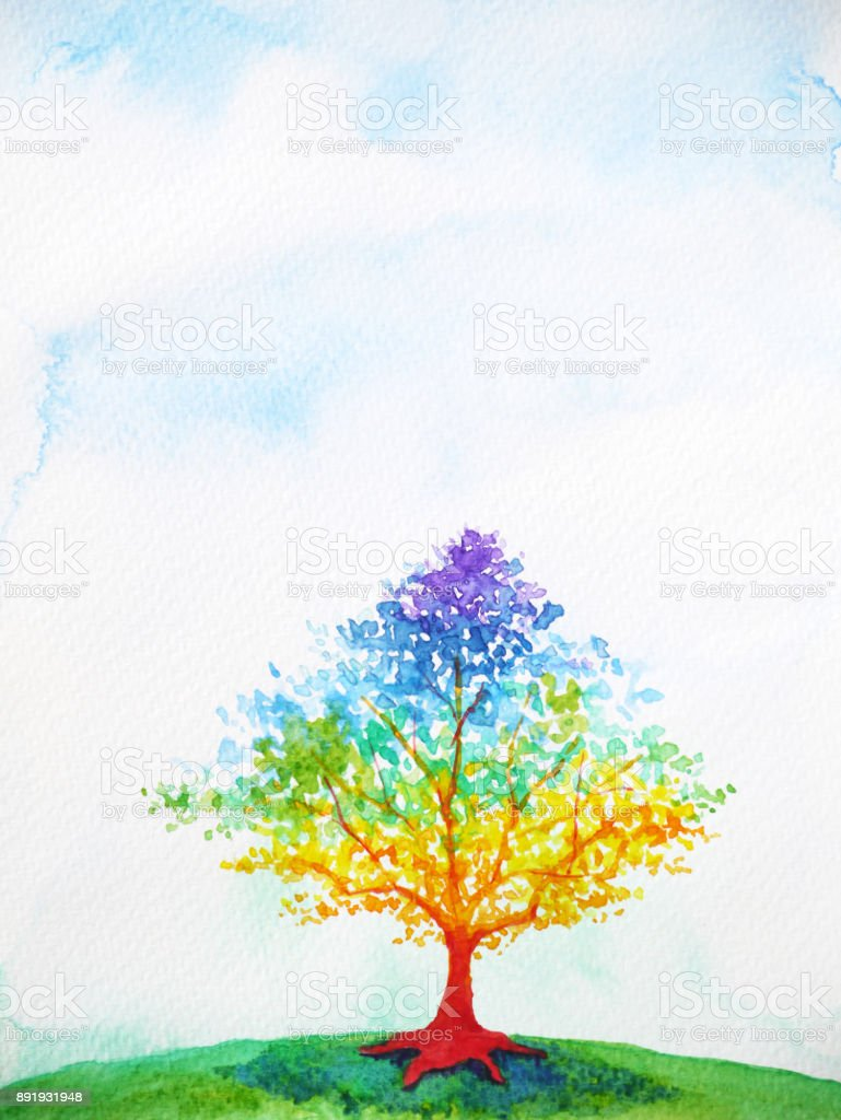 rainbow tree color colorful watercolor painting
