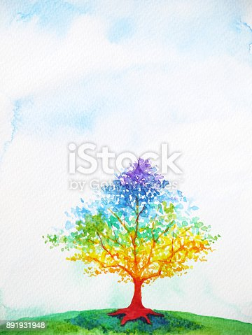 istock rainbow tree color colorful watercolor painting illustration design 891931948