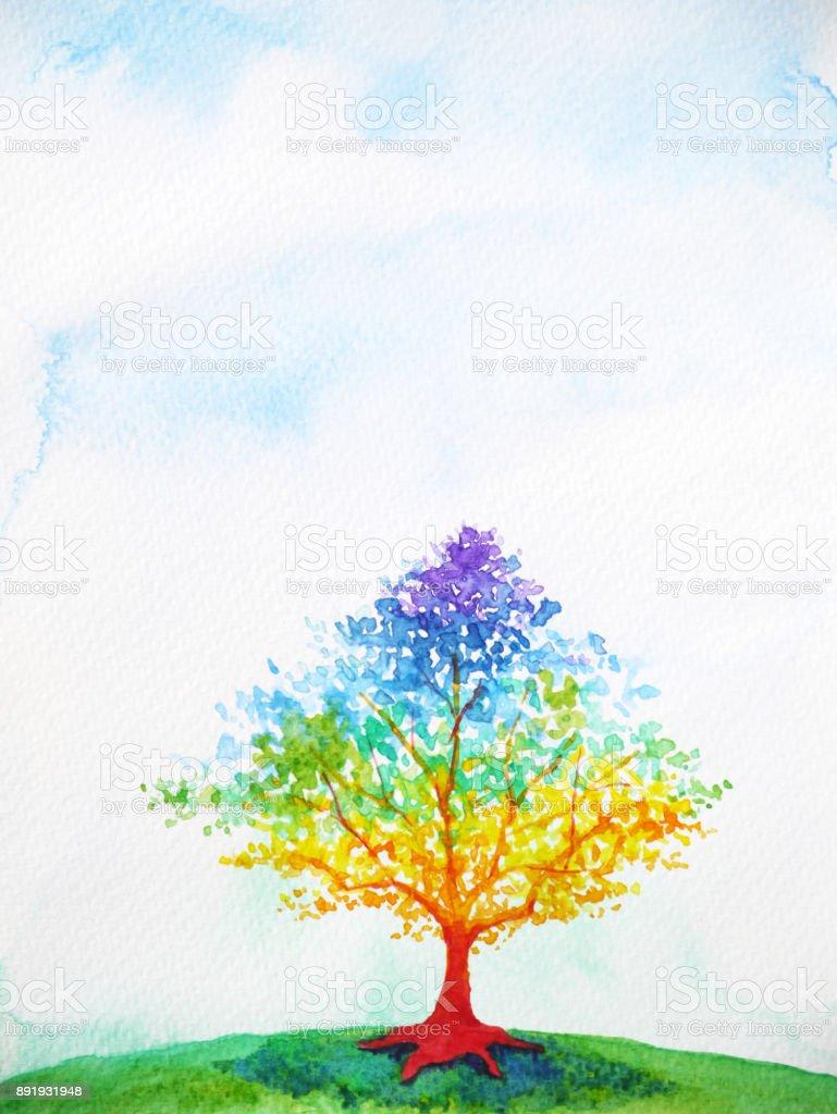 projeto de ilustração do arco-íris árvore cor pintura aquarela colorida - ilustração de arte em vetor