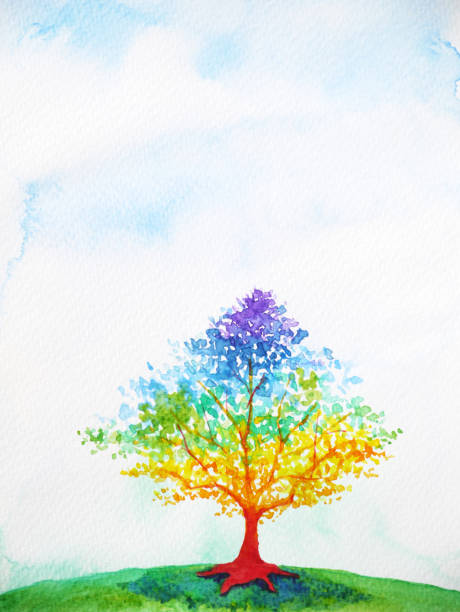 rainbow tree color colorful watercolor painting illustration design rainbow tree color colorful watercolor painting illustration design flourish art stock illustrations