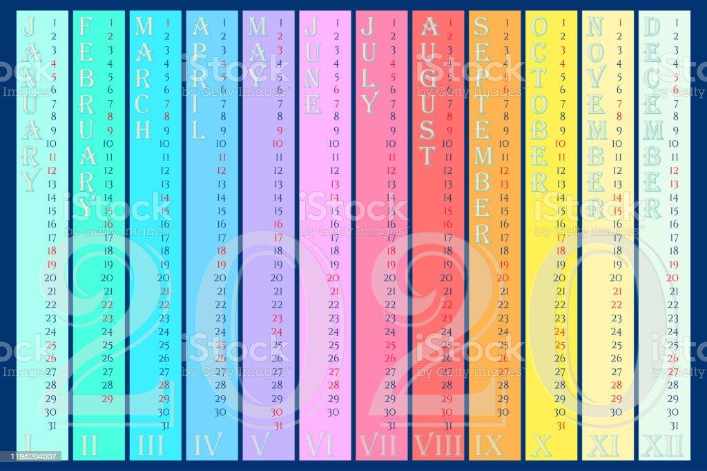 vetores de calendario da parede do arcoiris 2020 com meses verticais e numerais romanos e mais imagens de 2020 istock vetores de calendario da parede do arcoiris 2020 com meses verticais e numerais romanos e mais imagens de 2020 istock