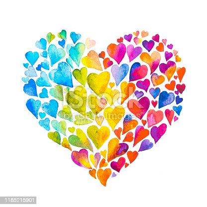 Painting of a heart made of little hearts on white background