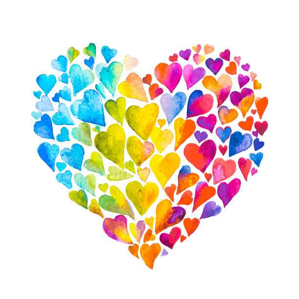 rainbow watercolor heart - optimistic stock illustrations