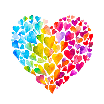 Rainbow watercolor heart