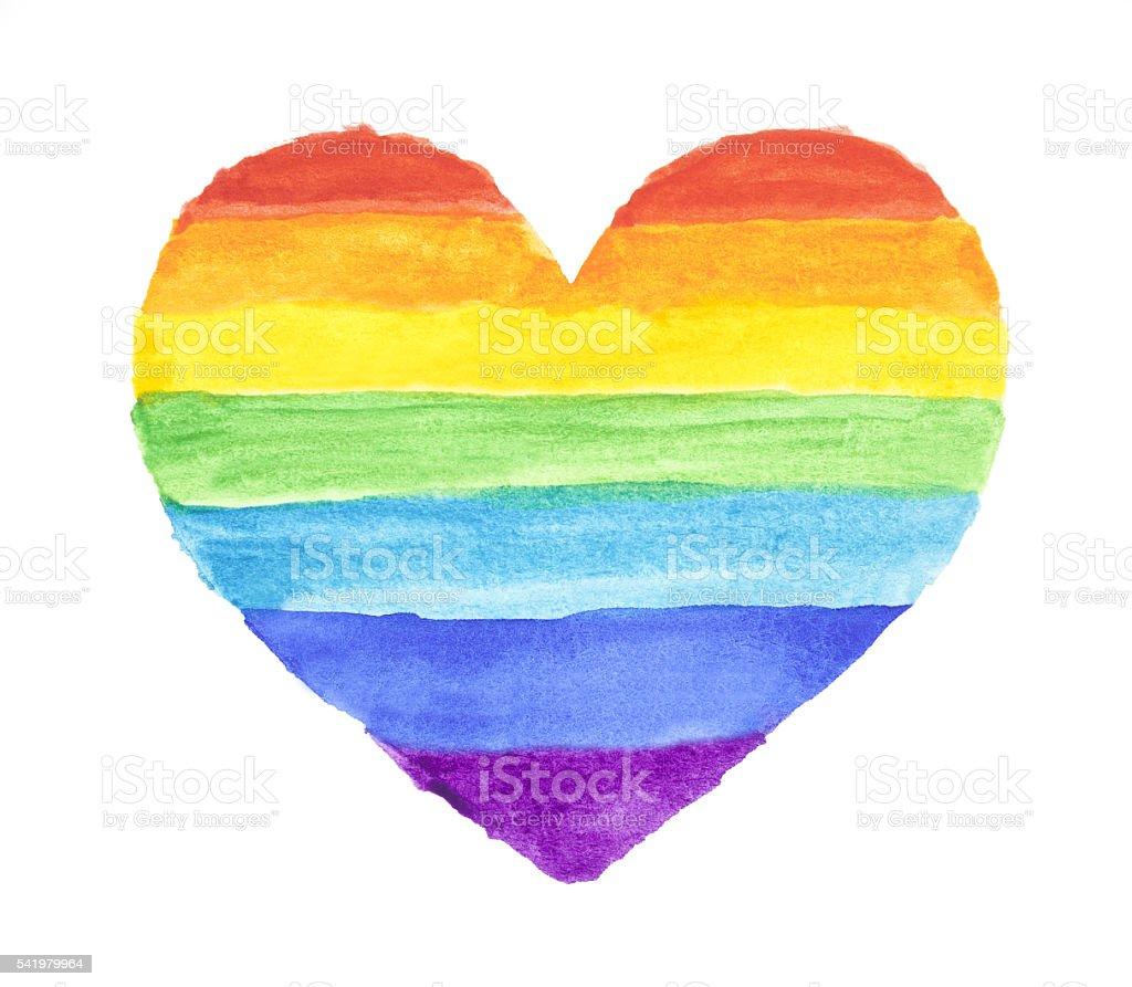 Arco iris acuarela corazón - ilustración de arte vectorial