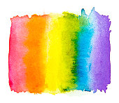 Rainbow watercolor  isolated on a white background , Gay pride LGBT , against homosexual discrimination symbol concept