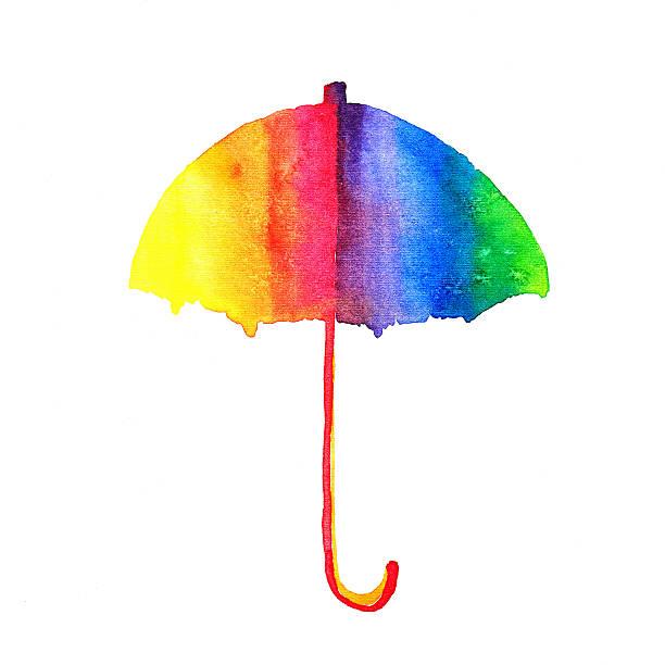 Rainbow watercolor umbrella vector art illustration