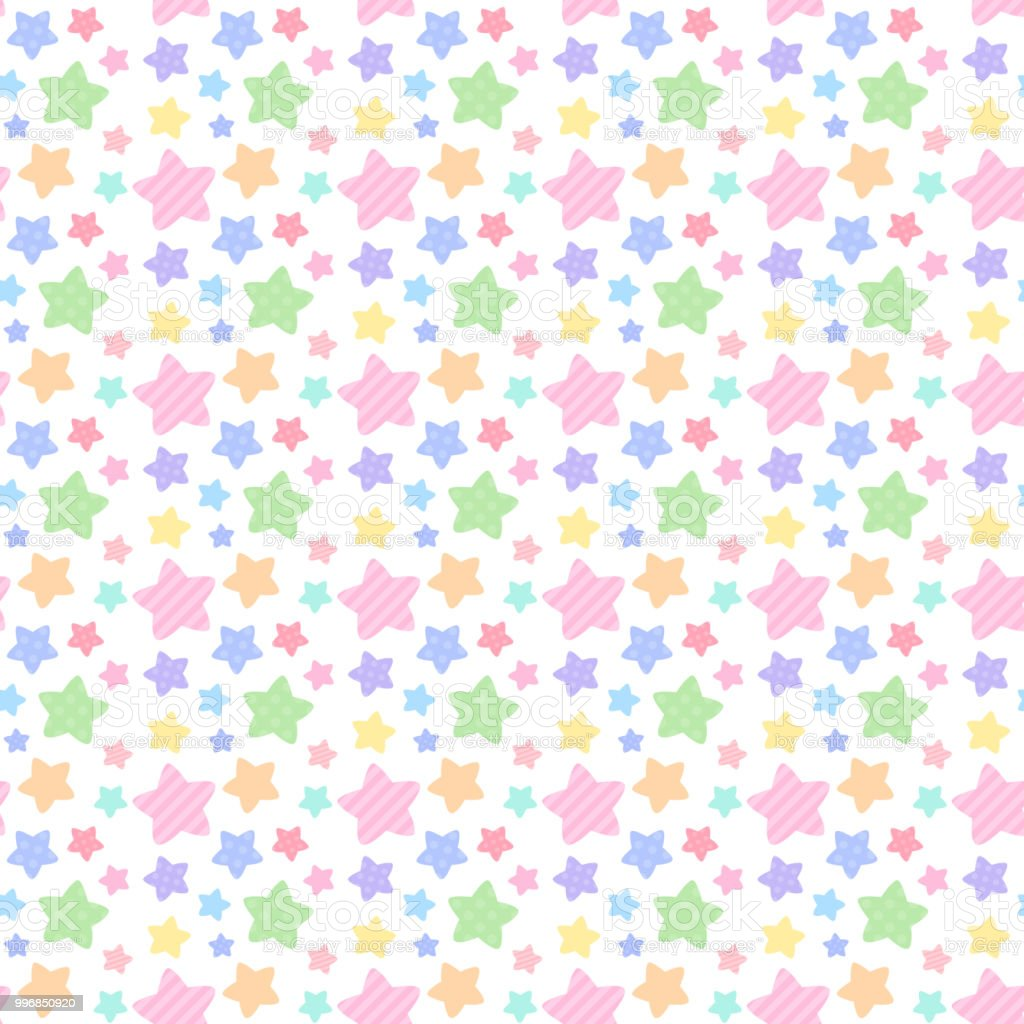 Rainbow-colored star pattern seamless pattern vector art illustration