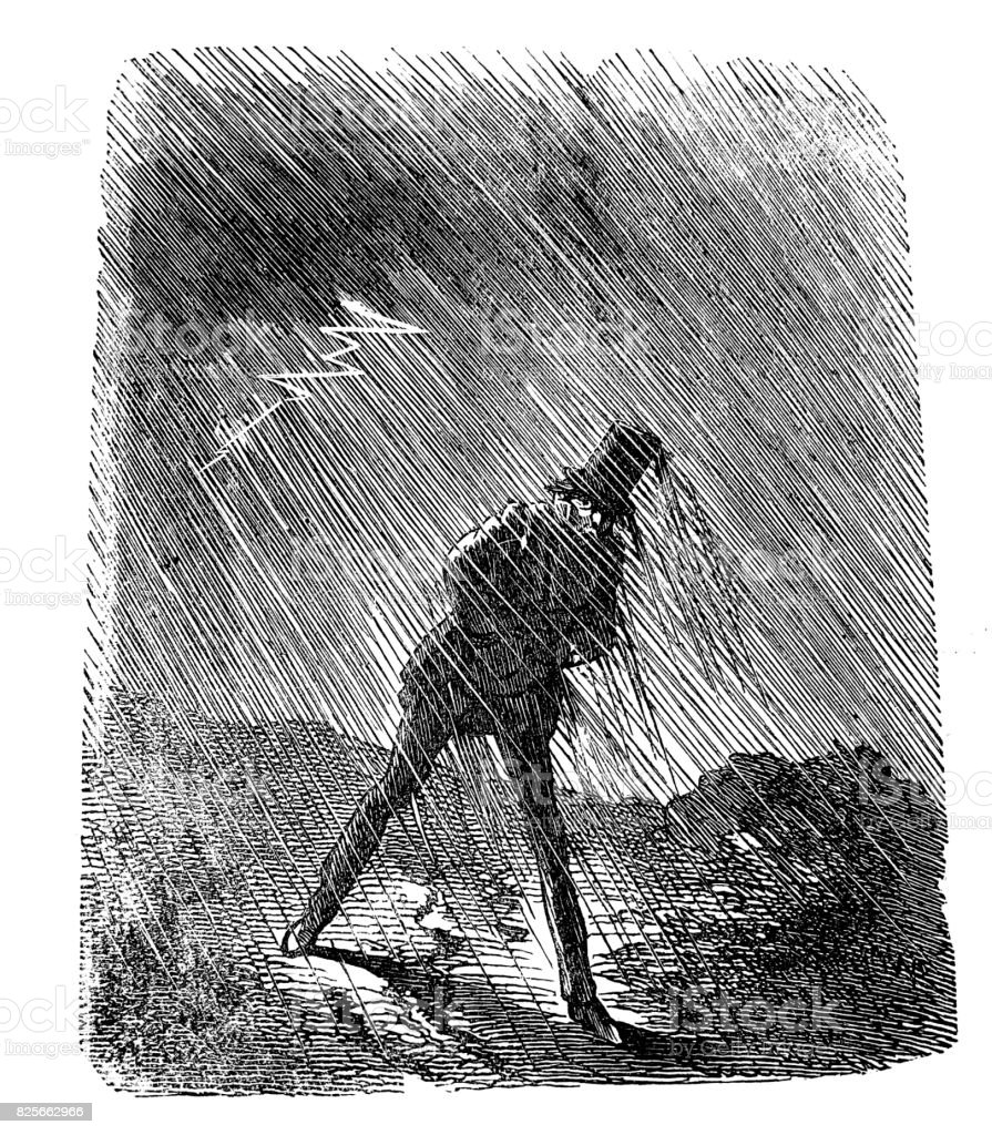 Rain-drenched man during a storm looks at a flash that appeared in the sky -1867 vector art illustration