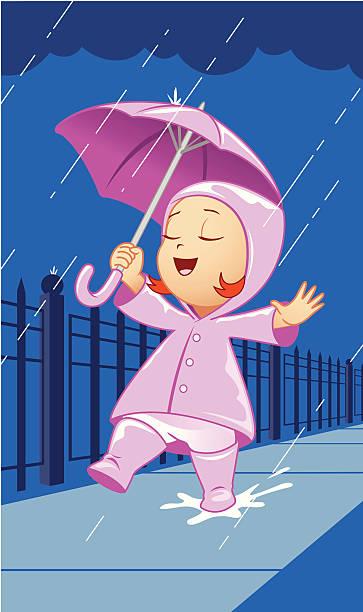 rainy day fun - kids playing in rain stock illustrations, clip art, cartoons, & icons