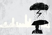 Rainy day graffiti vector background with cityscape. All design elements are layered and grouped. Simple gradient was used. Included files are aics3 and hi-res jpg.