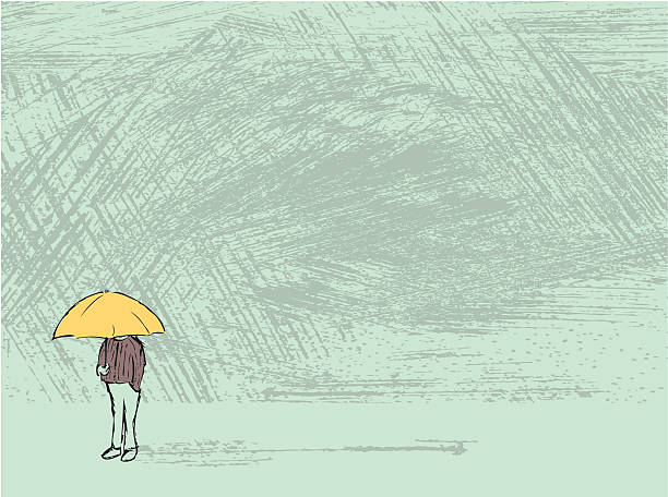Rainy Day Hand drawn illustration of figure standing in rainy weather loneliness stock illustrations