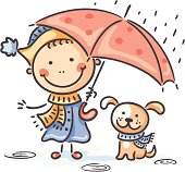 A little girl with her puppy in the rain. No gradients.
