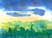 雨季、水彩画