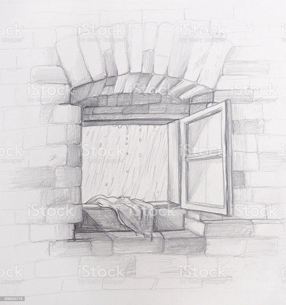 Rainy weather open window pencil drawing illustration