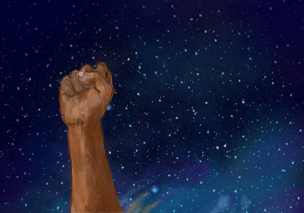 raised fist against night sky. social justice protest, demonstration. - black power stock illustrations