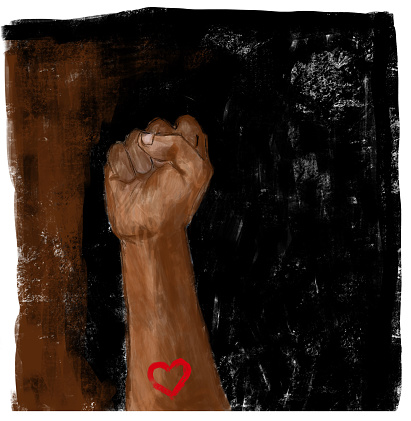 Raised fist with heart. Social justice, Protest, demonstration, on black and brown background.