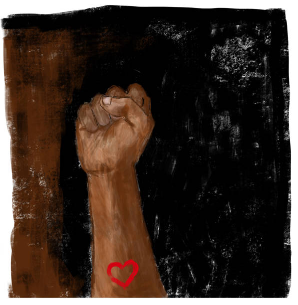 raised fist with heart. social justice, protest, demonstration, on black and brown background. - black power stock illustrations