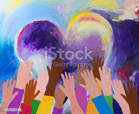 Raised hands of multicultural group, love, unity, equality. Abstract acrylic on canvas and digital hand painting. My own work.