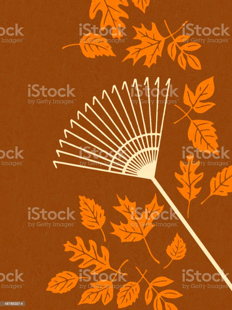 Rake and Fall Leaves vector art illustration