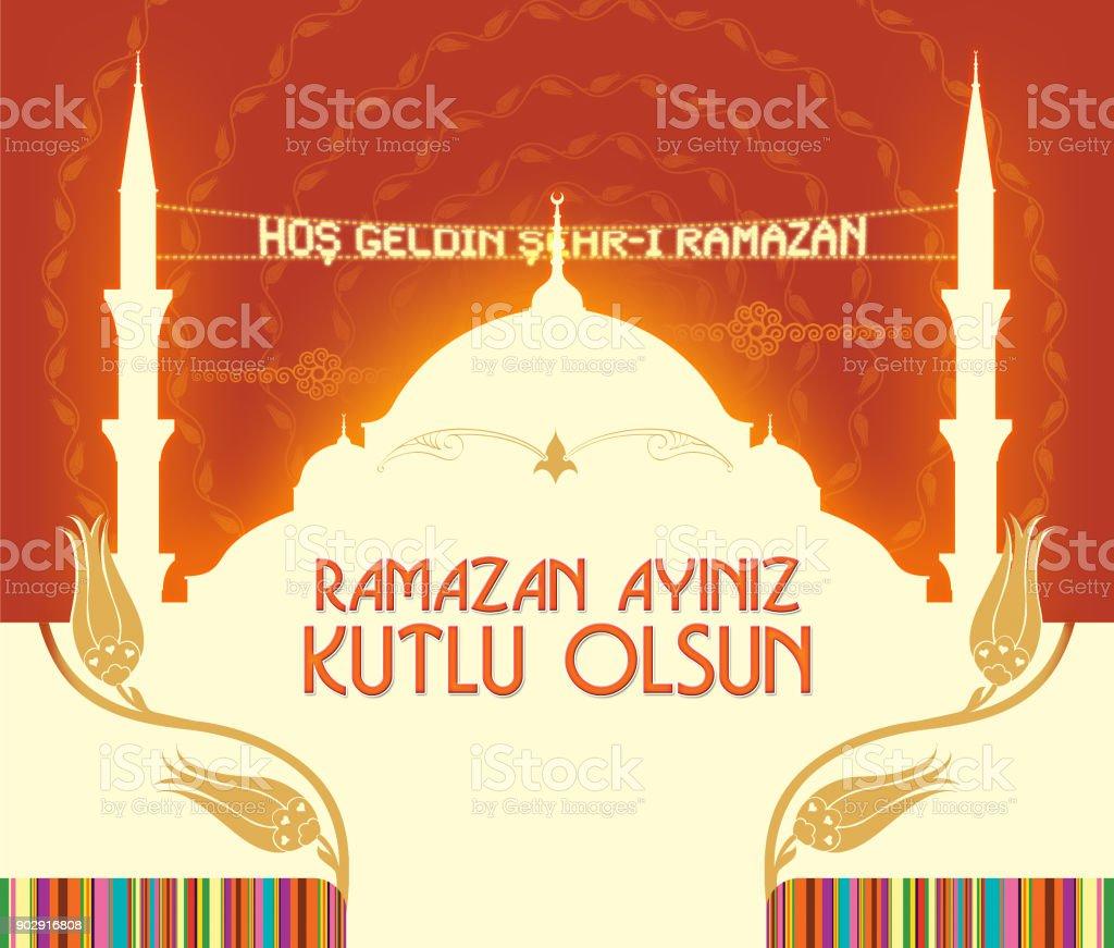 Ramadan holiday greeting card illustration turkish writing welcome ramadan holiday greeting card illustration turkish writing welcome to ramadan or happy holiday m4hsunfo