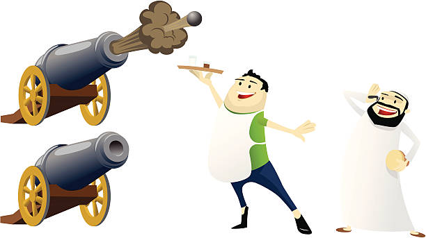 """ramadan icons: cannons, waiter, and """"wake up man"""" - old man crying clip art stock illustrations, clip art, cartoons, & icons"""