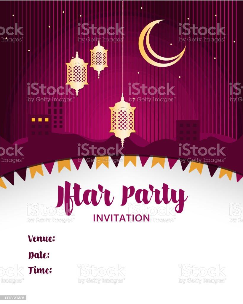 Ilustración De Ramadán Iftar Invitación Fiesta Diseño De La