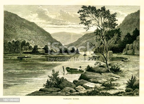 19th-century illustration of the Ramapo River, a tributary of of the Pompton River. Published in Picturesque America or the Land We Live In (D. Appleton & Co., New York, 1872).