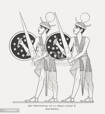 Members of Ramesses II's Sherden personal guard. The Sherden are are one of several groups of Sea Peoples who appear in fragmentary historical and iconographic records, (ancient Egyptian and Ugaritic) from the eastern Mediterranean in the late second millennium BC. Wood engraving after an ancient relief in Abu Simbel, Egypt, published in 1879.
