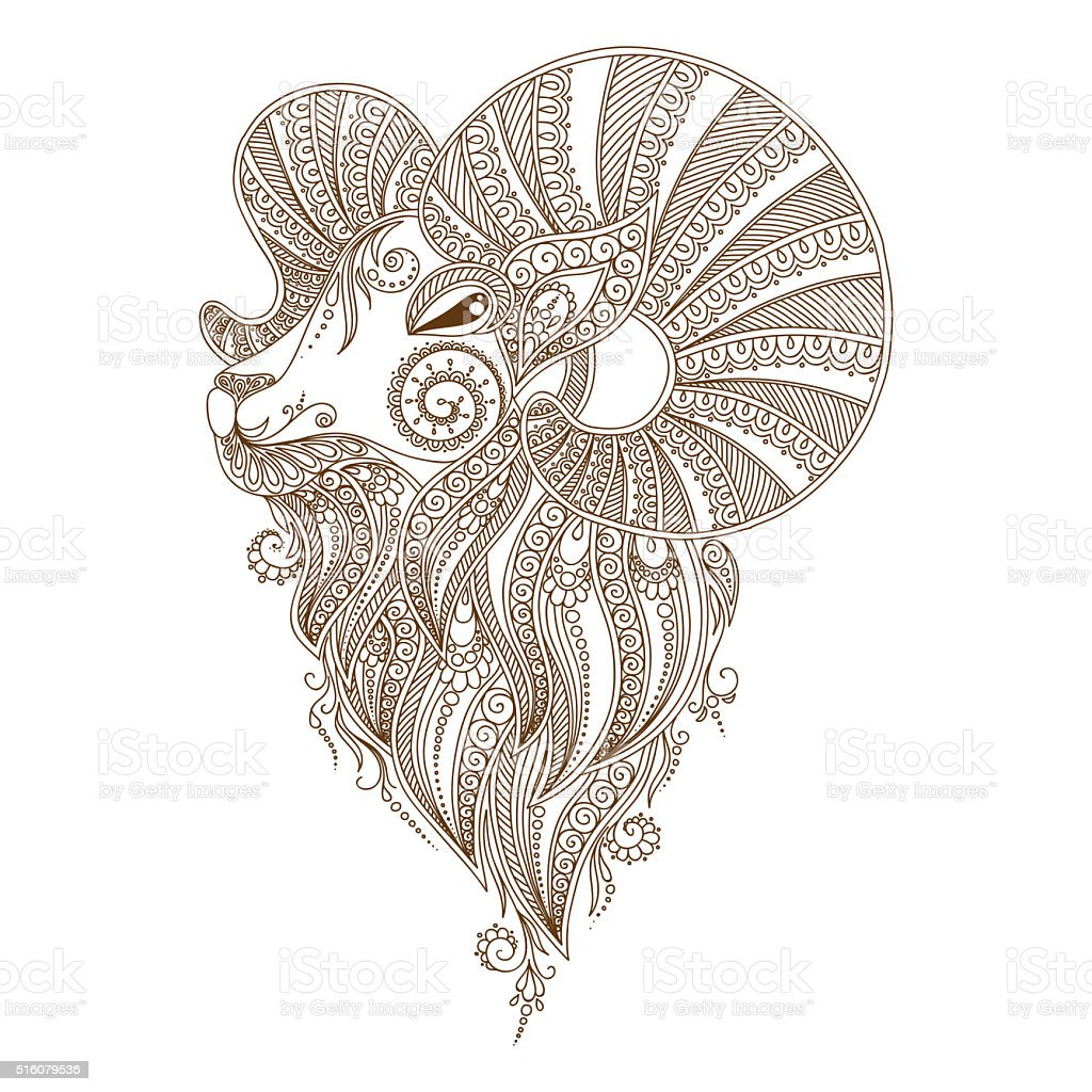 Ram's head.  Mehendi style vector art illustration