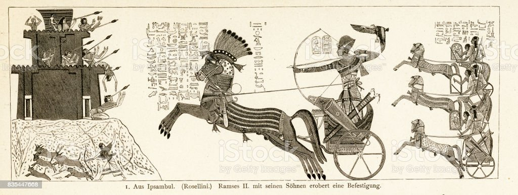 Ramses II and his sons conquering a fortification vector art illustration