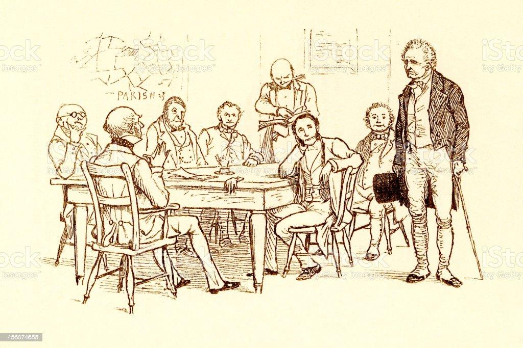 Randolph Caldecott illustration: old man meeting Parish Board of Guardians royalty-free stock vector art