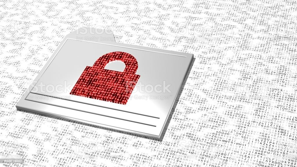 Ransomware folder encrypted data on random letter background - Royalty-free Bribing stock illustration