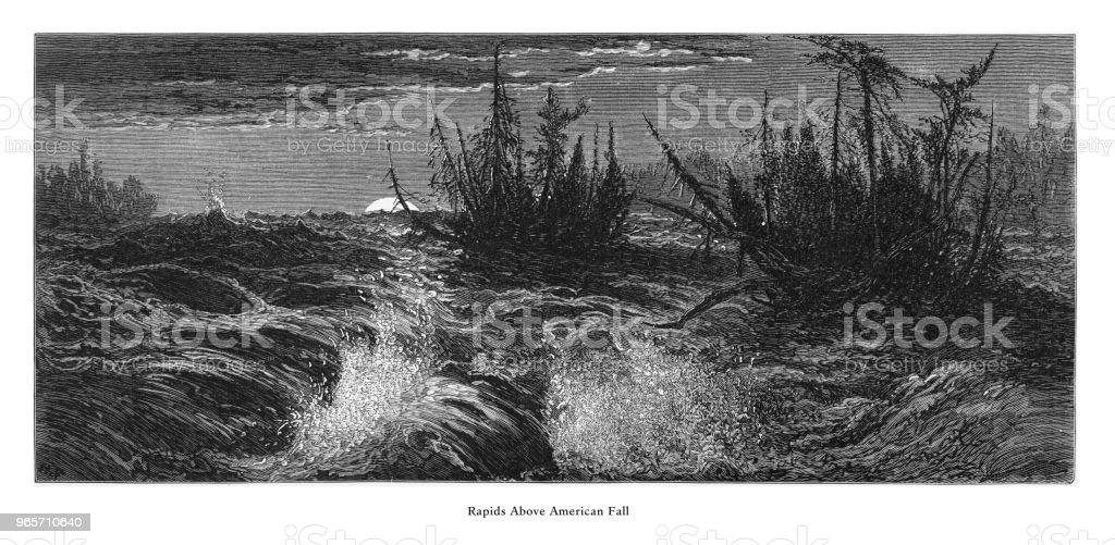 Rapids Above American Falls, Niagara Falls, New York, Niagara Falls, Ontario, American Victorian Engraving, 1872 - Royalty-free 1870 stock illustration