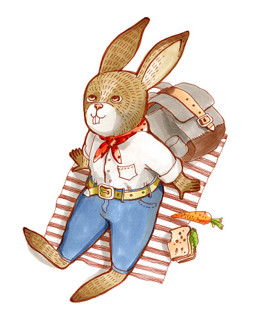 Raster color illustration. Humanized animal. The rabbit in a shirt and jeans lies on cover outdoors and looks up.