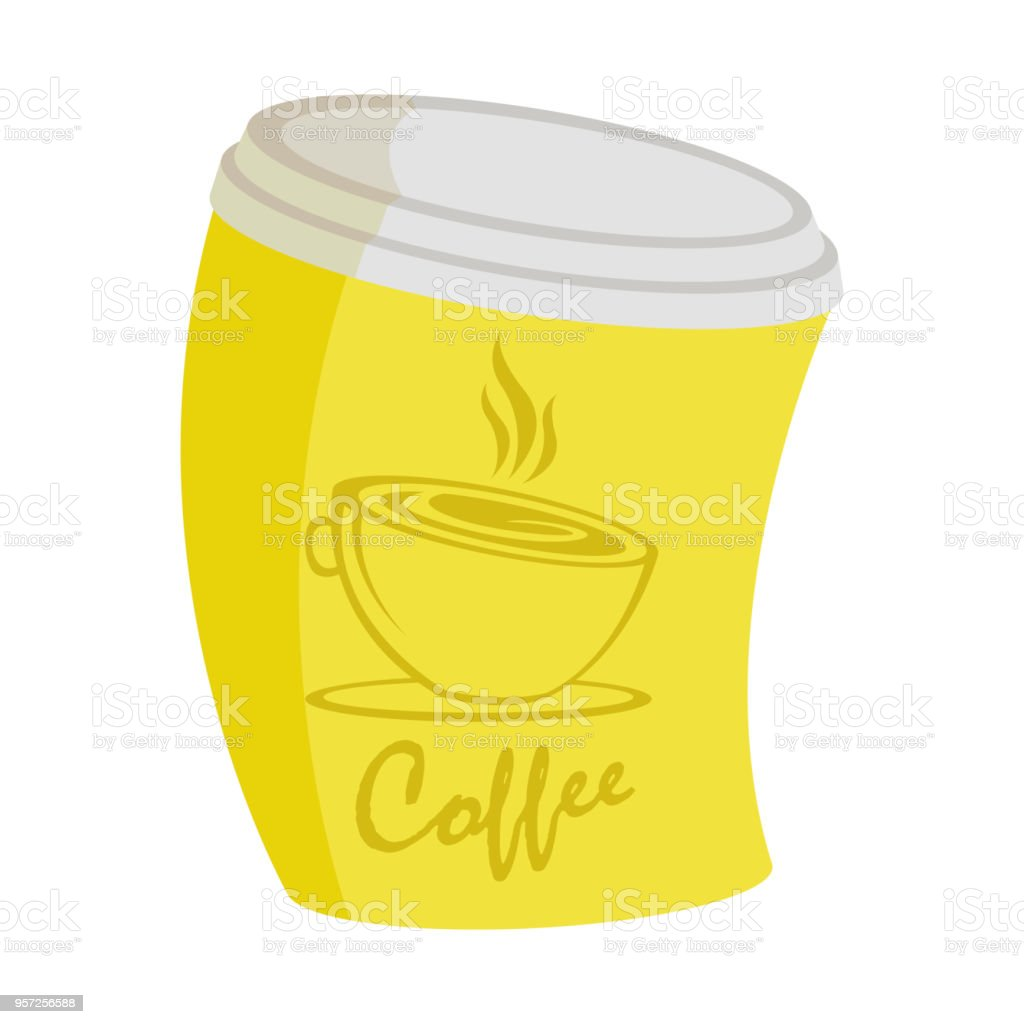 Raster illustration of yellow curve coffee cup on a takeaway with short inscription , a picture on a white background vector art illustration