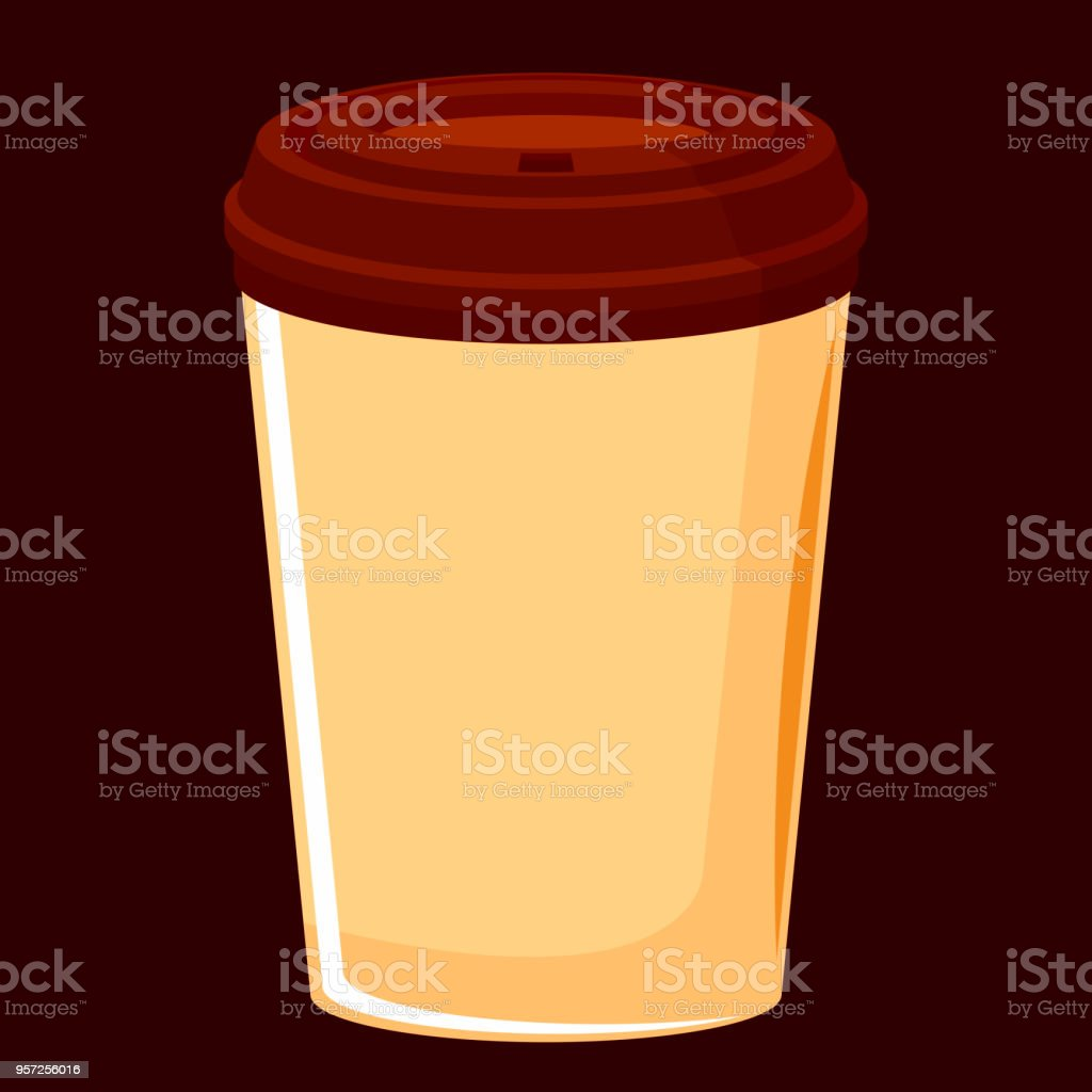 raster image of paper coffee cup with a lid, hot drink vector art illustration