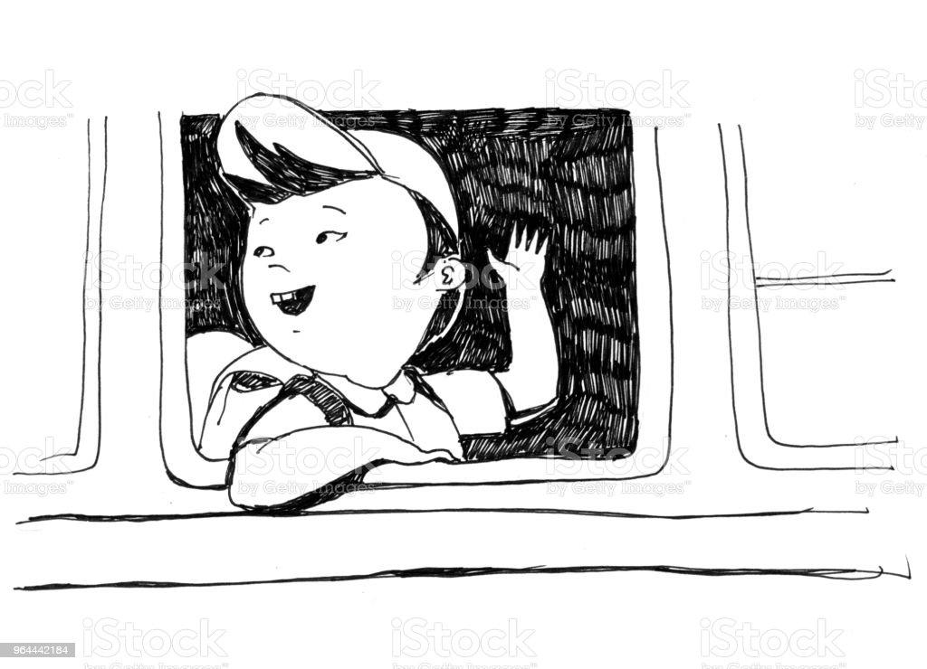 Ilustração monocromática raster para livro de colorir. O menino japonês vai de ônibus para a escola e acena com a mão - Ilustração de Aluno royalty-free