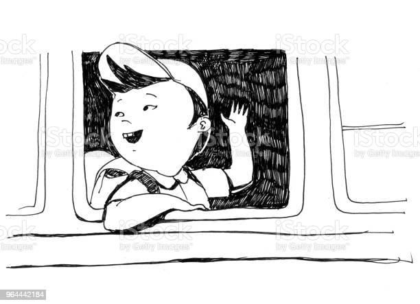 Vetores de Ilustração Monocromática Raster Para Livro De Colorir O Menino Japonês Vai De Ônibus Para A Escola E Acena Com A Mão e mais imagens de Aluno