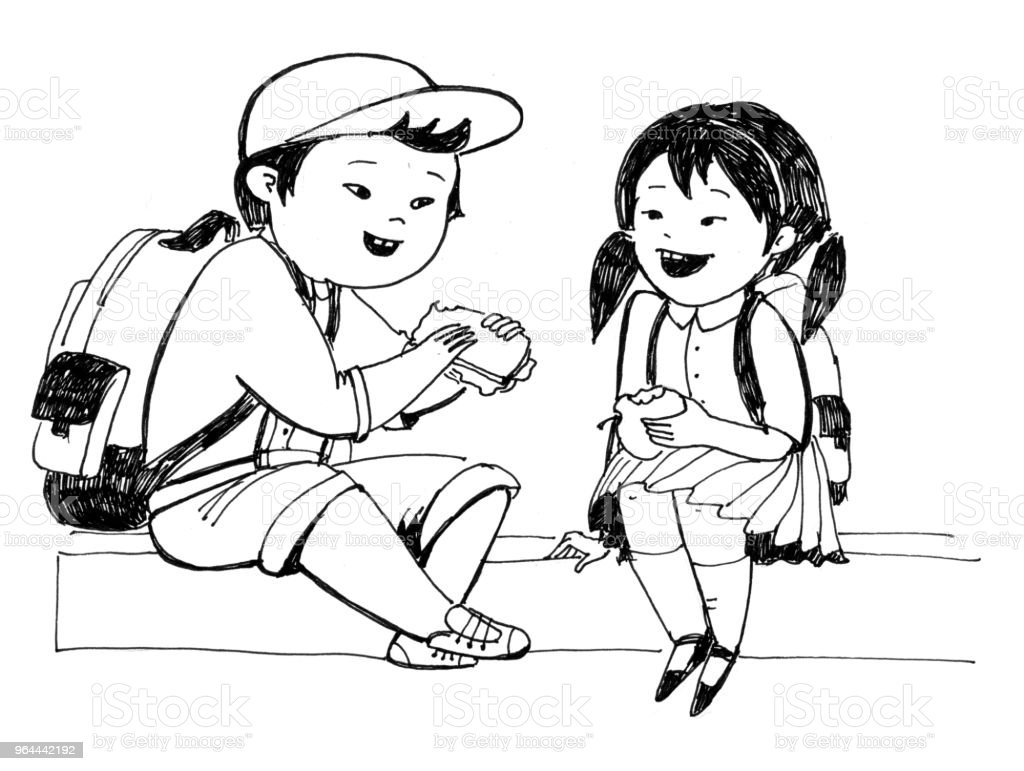 Raster monochrome illustration for coloring book. The little japanese boy and girl sit on the border and have a lunch vector art illustration