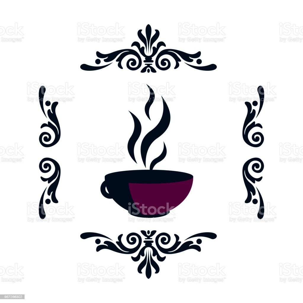 Raster pattern, purple hot cup with a steam in a frame of patterns vector art illustration