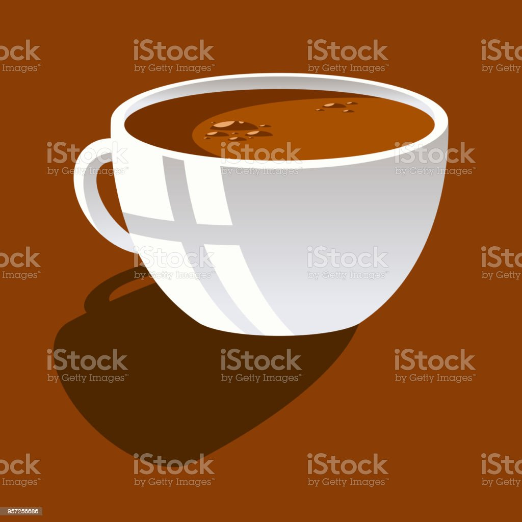 Raster picture of white ceramic cup with coffee on a brown background vector art illustration