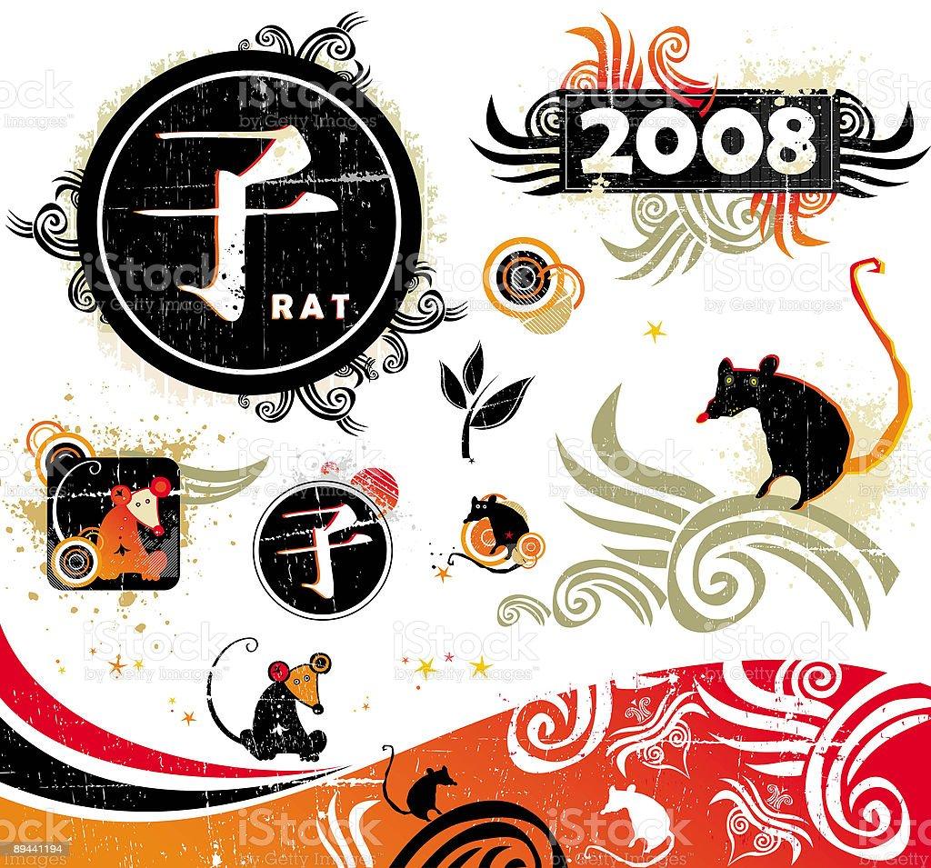 Rat  design elements royalty-free stock vector art