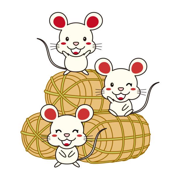 ネズミ 米俵イラスト ベクターアートイラスト