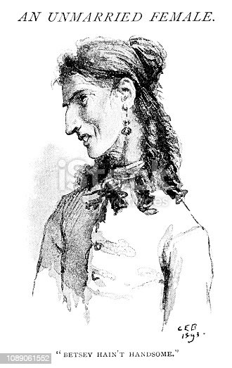 """A young nineteenth century lady who is unfortunately rather plain. From """"The Humour of America - Selected, with an Introduction and index of American Humorists, by James Barr. Illustrations by C.E. Brock"""". Published in 1893 by Walter Scott Ltd, London."""