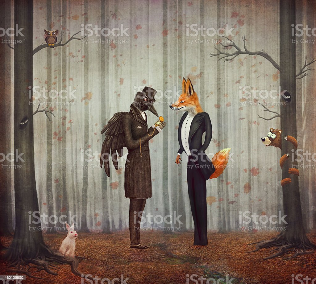 Raven and Fox in   dark forest looking at the watch vector art illustration