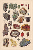 Raw gemstones, lithograph, published in 1893
