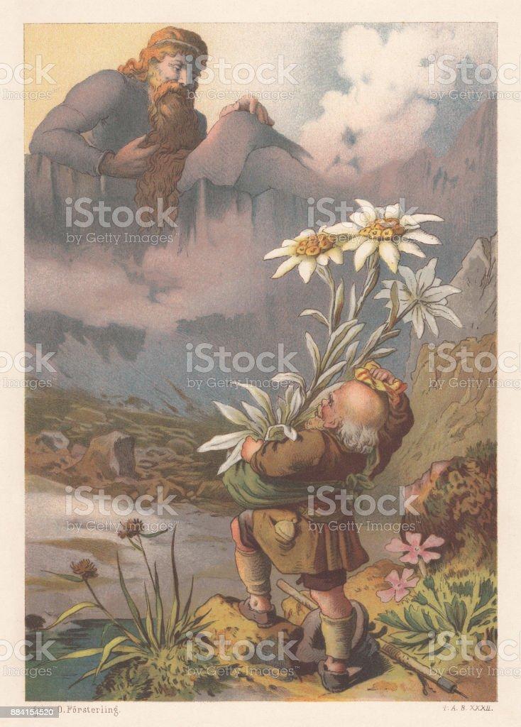 Rübezahl, folklore mountain spirit from the Krkonoše Mountains, lithograph, 1886 vector art illustration