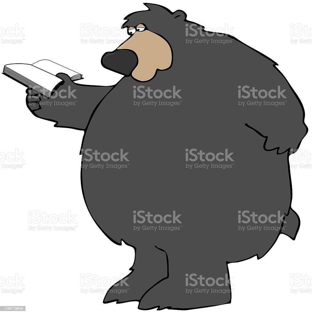 Reading Bear vector art illustration