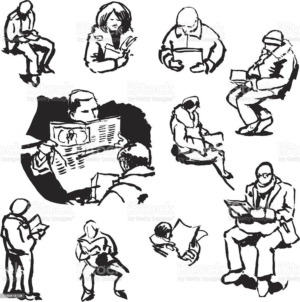 Reading People Sketch Set vector art illustration